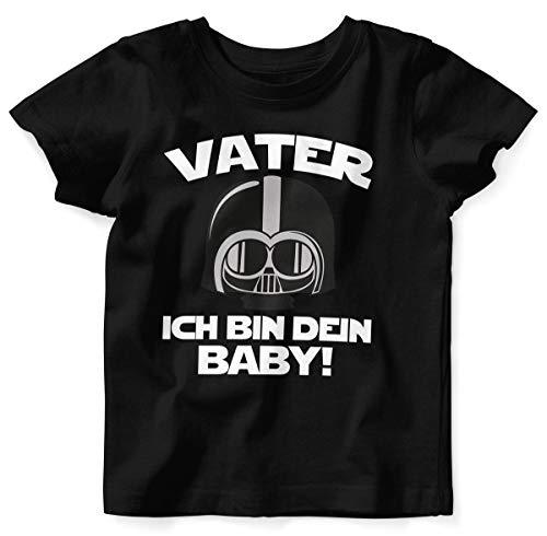 Kleinkind Kostüm Vater - Mikalino Baby/Kinder T-Shirt mit Spruch für Jungen Mädchen Unisex Kurzarm Vater - ich Bin Dein Baby! | handbedruckt in Deutschland | Handmade with Love, Farbe:schwarz, Grösse:56/62