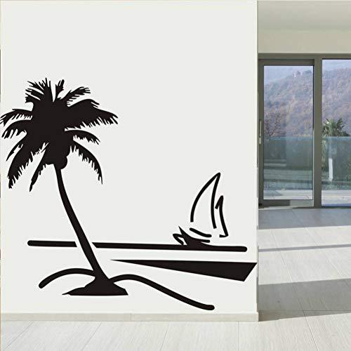 Wandaufkleber Beach Coconut Palm Tree Segelboot Wand Kunst Bad Glas Moderne Kunst Wandhauptdekor Große 3D Vinyl Wand Aufkleber Aufkleber (Glas-moderne Wand-kunst)