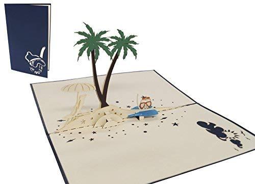 LIN-POP UP Grußkarten, 3D Karten Reisegutschein Urlaubsgruß Palmeninsel, Schnorchel