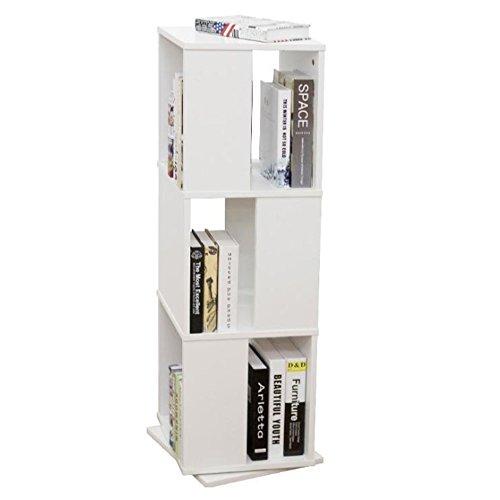 Style home drehbares Bücherregal Ordnerregal Büroregal Bücherschrank Standregal Aktenregal Universal Regal, 3 Etagen, Holz, Weiß SH49M15037-WIE