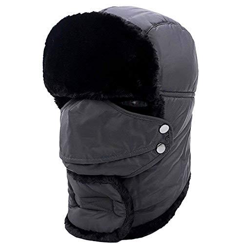 Huttoly Wintermütze mit Ohrenklappen,DunkelgrauHut, Wintermütze mit Fellmütze, Kunstfellmütze. Fliegermütze hält warm beim Skifahren, Schlittschuhlaufen und Anderen Outdoor-Aktivitäten.