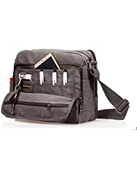 MeCooler Men's Canvas Weekender Messenger Bag for Travel Crossbody Sports Over Shoulder Vintage Military Overnight Casual Cross Body Side Beach Pack Bag