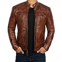 Blingsoul Genuine Leather Mens Cafe Racer Jacket | [1100087] Johnson Real Brown, 3XL