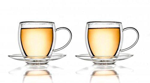 Creano 257 en verre thermique à double paroi 250 ml avec soucoupe, verre transparent, 13,5 x 13,5 x 11,5 cm, 2 unités