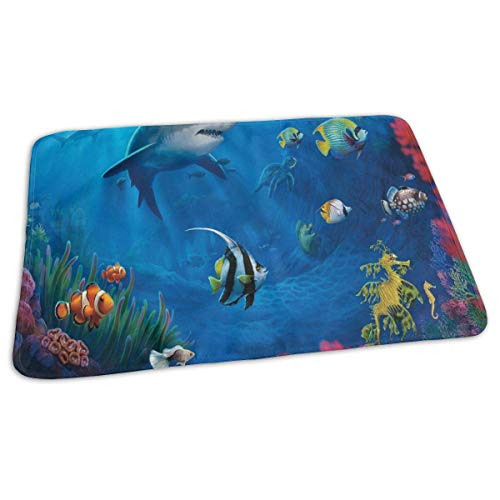 Tropical Fish Cartoon Baby Diaper Urine Pad Mat Inspiring Girls Bed Wetting Pads Sheet for Any Places for Home Travel Bed Play Stroller Crib Car ()