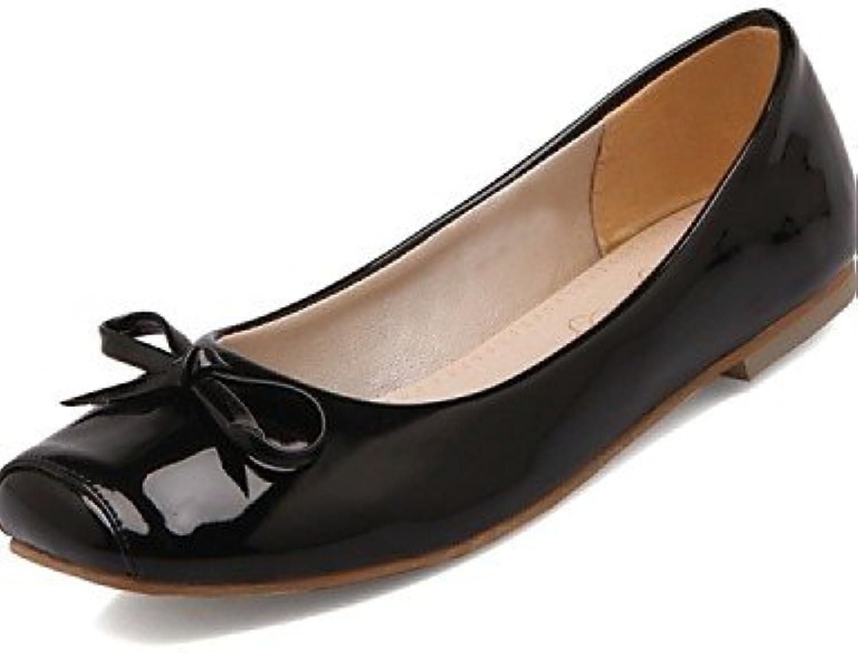 PDX/de zapatos de mujer piel sintética talón plano comodidad/Square Toe Flats oficina y carrera/Fiesta y tarde...