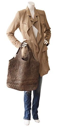 Sac cabas italien XXL Sac épaule cuir souple tressé Design Vintage(40x33x15cm) Noir