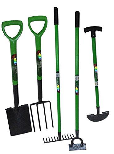 crazygadget wärmebehandelter Carbon Stahl 5-teiliges Garten-Werkzeug-Set 12Zahn Harke Gabel Hacke Spaten Kantenstecher komplett stabile Garten Set