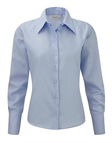 Russell Collection Womens Ultimate Noniron Long Sleeve Shirt Bleu ciel