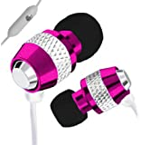 IN EAR EARPHONES HEADPHONE WITH MICROPHONE METAL NOISE ISOLATING FOR MP3 IPOD IPHONE 4 5 PINK