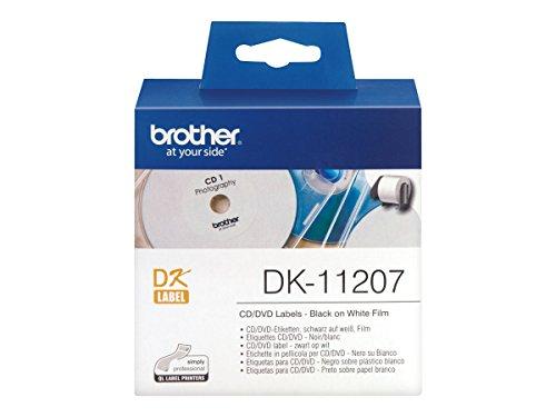 Brother DK11207 DK-11207 CD/DVD-Etiketten, Durchmesser: 58 mm, weiß (Dvd-drucker-etiketten)