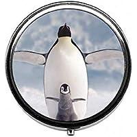 LinJxLee Christmas Winter Penguins Round Pill Case Pill Box Tablet Vitamin Organizer Easy to Carry preisvergleich bei billige-tabletten.eu