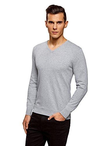 oodji Ultra Herren Eng geschnittener Pullover mit geripptem Ausschnitt aus weicher Baumwolle Grau (2000M)
