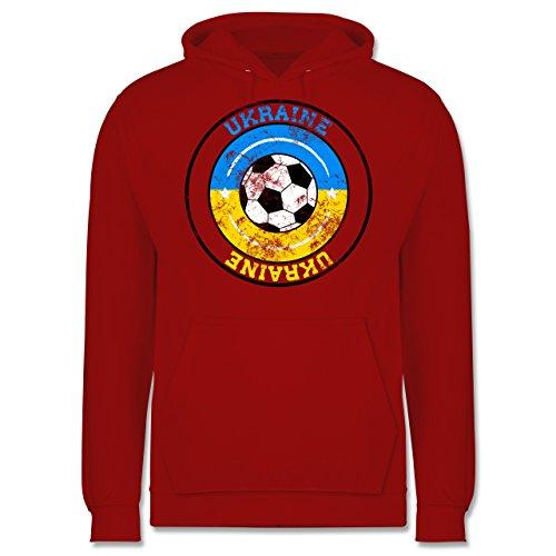 EM 2016 - Frankreich - Ukraine Kreis & Fußball Vintage - Männer Premium Kapuzenpullover / Hoodie Rot