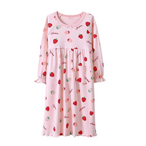 AOSKERA Baby Mädchen Erdbeere Nachthemd 100% Baumwolle Nachtwäsche Langarm für 3-4 Jahre