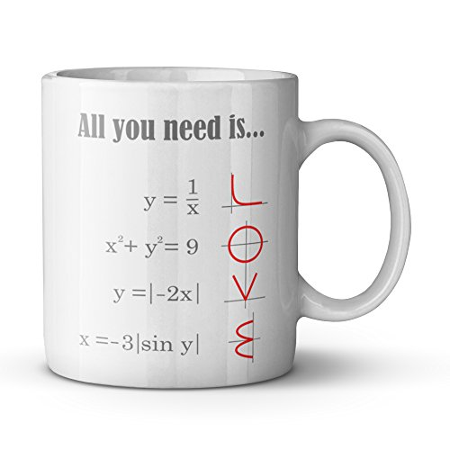 Smart Design Math Style LOVE Pattern All you need is LOVE Ceramic Coffee White Mug (11 Ounce) Tea Cup - Best Gift For Birthday,Christmas And New Year by Romantic Coffee Cups / Mugs