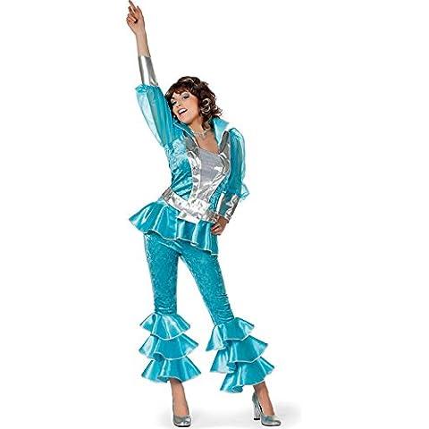 Las señoras de los años 70 azul estilo traje de Abba Small (EU36 UK10)