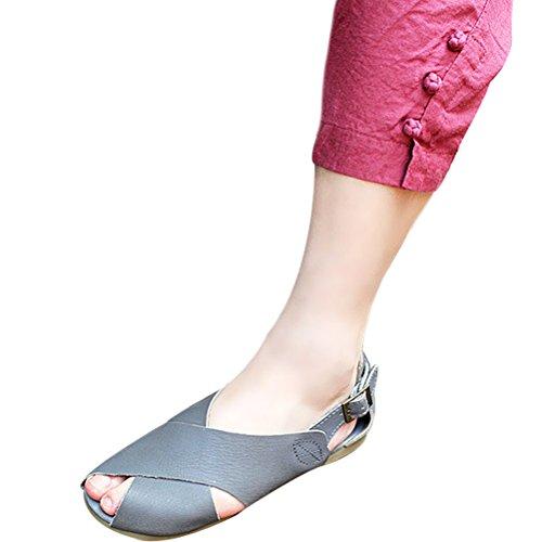 Vogstyle Femmes Eté Nouveau Fish Head Flat Sandals Slingback Sandales Romaines Style-1 Gris