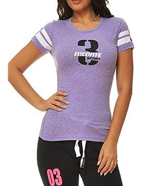 M.Conte Señoras Camiseta Deportiva Fitness T Sobre Camisa de Manga Corta Azul Gris Púrpura SML XL Lilly EN Gris...