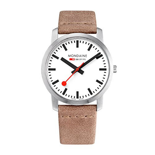 Mondaine Mens Analog Swiss-Quartz Watch with Leather Calfskin Strap A638.30350.16SBG