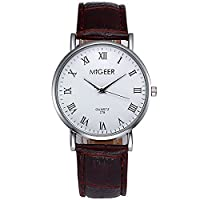 Souarts Mens Brown Artificial Leather Roman Numbers White Dial Quartz Analog WristWatch 24cm