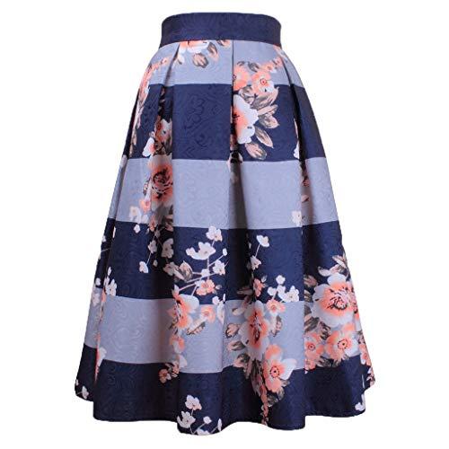 f40830f72 TIMEMEAN Mujer Una Falda De Line Cintura Alta A Rayas Falda Plisada  Estampada Falda Midi