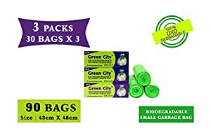 Green City OXO BIO-DEGRADABLE ECO-Friendly Garbage Bags Small | Disposable Dustbin Bags | (Pack of 3)