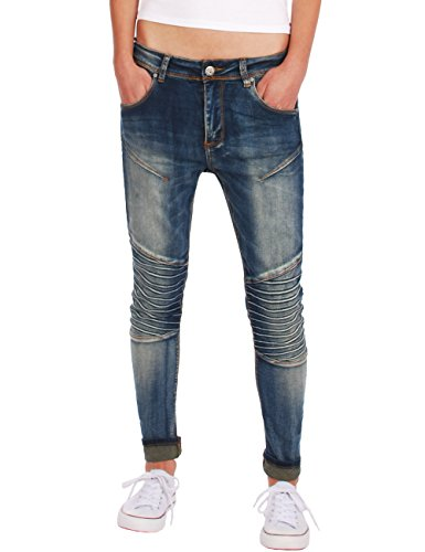 Fraternel Damen Jeans Hose Bikerjeans relaxed fit stretch Blau M / 38 - W31 (Jeans Flare Easy Fit)