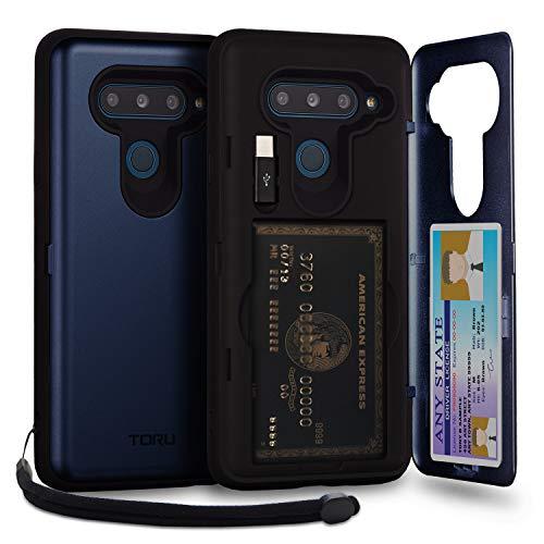 TORU CX PRO LG V40 ThinQ Hülle Kartenfach Blau mit Verstecktes Ausweis-Slot Kreditkartenhalter, Lightning Adapter, handschlaufe und Spiegel für LG V40 ThinQ (2018) - Navy Blau
