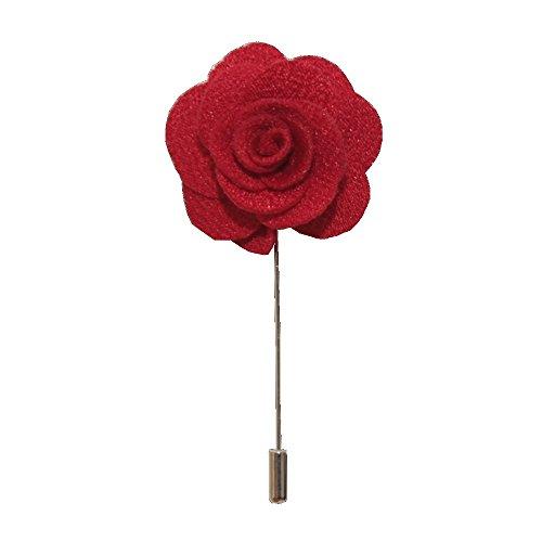 Handgefertigte Anstecknadel mit Blume / Rose, Boutonniere für das Knopfloch, Corsage, Anzug, Smoking oder Jacke Gr. onesize, rot -