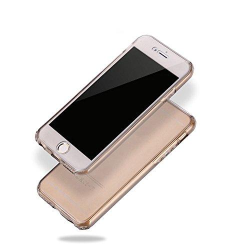 Für iphone 6 Plus Hülle Silikon Transparent,Handyhülle für iphone 6 Plus 360 Grad Schutz Durchsichtig Vorne Hinten Touch Case,SKYXD Beidseitiger Rundumschutz Full Body Cover Klar Clear Dünne Weich Rüc # Grau