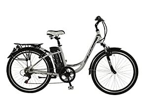 """Falcon Jolt Womens' Electric Bike Silver, 16.5"""" inch aluminium frame, 6 speed lightweight low step zoom front suspension forks"""