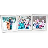Set da 3 cornici per foto da 15x15 cm bianco in legno massiccio con lastra in vetro / per appendere o appoggiare su una superficie - 3x3 Cornice