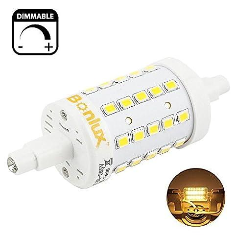 Bonlux 5W Dimmable R7s 78MM LED blanc chaud 3000K 360 degrés J Type J78 R7s LED lampe 50W halogène remplacement de l'ampoule (78mm)