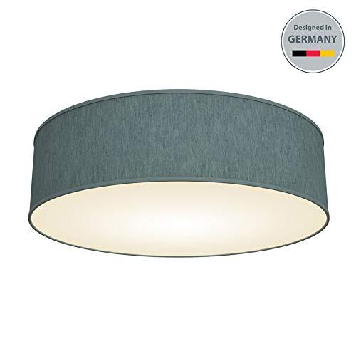 B.K.Licht Deckenleuchte 3-flammig Deckenlampe Petrol-grau rund Stoff Deckenlampe