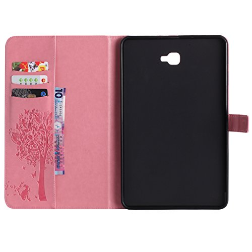 Custodia Galaxy Tab A 10.1, Galaxy Tab A 10.1 Flip Case Leather, SainCat Custodia in Pelle Cover per Samsung Galaxy Tab A 10.1 T580/T585, Anti-Scratch Book Style Protettiva Caso PU Leather Flip Portaf Rosa