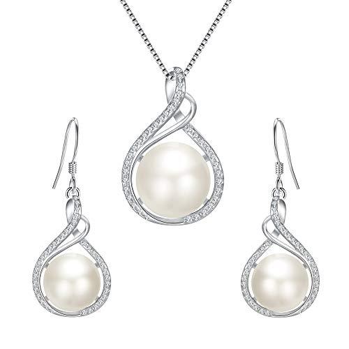 Clearine Damen Schmuckset 925 Sterling Silber CZ Creme Süßwasser-zuchtperlen Unendlichkeit Anhänger Halskette Haken Ohrringe Set