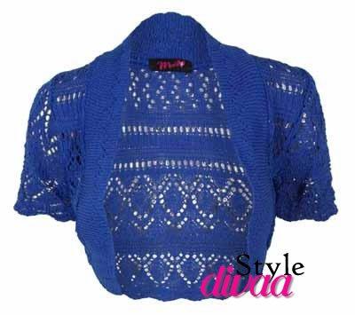 SD da donna Cardigan uncinetto lavorato a maglia Bolero coprispalle Royal Blue