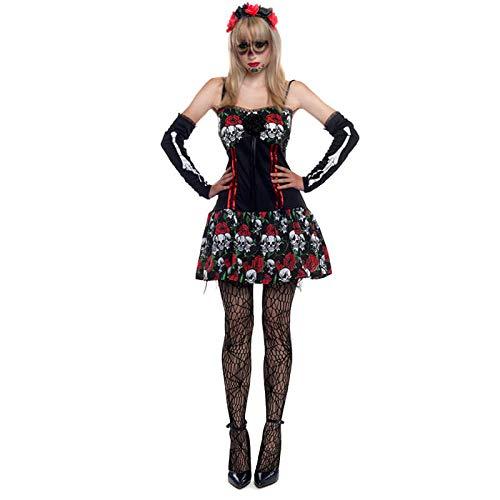 Partilandia Disfraz Esqueleto Mejicana Catrina Día de los Muertos Mujer Adulto para Halloween (M)