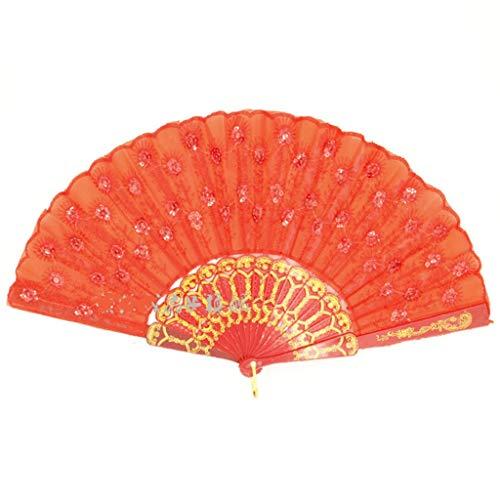 NIANJIAN Peacock Dance Dance Fan Gestickter Pailletten-Fan Kunststoff-Fan Bone Dance Fan Cheongsam Show Faltfächer Square Dance Fan (Color : Orange) - Herren Der Kirche Passt