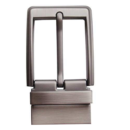 Men's 1-3 / 8 '' (35mm) solid zinc buckle belt buckle leather automatic head ratchet (Matt Pearl Brush)
