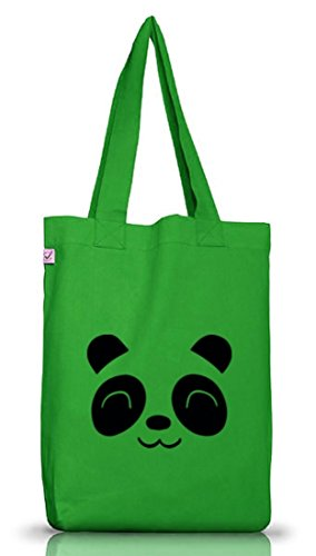 Tier Jutebeutel Stoffbeutel Earth Positive Cute Panda Kelly Green