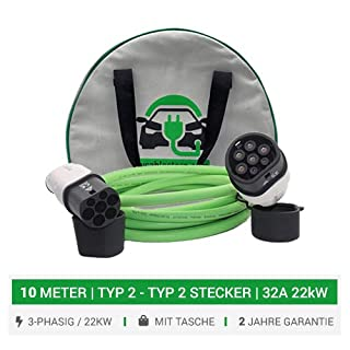 EV Charging Cable Store 3-Phasig Typ 2 Mennekes-Format Ladekabel. 10 Meter Kabel 32A 22kW 3-phasig. 5 Jahre Garantie. 3-Phasig 22kW. Duosida kompatibel mit i3, e-Golf Elektroautos etc. (10 Meter)