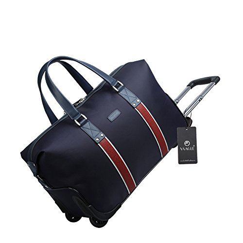YAAGLE Mens Womens Spacious Casual Waterproof Oxford 20-Inch Trolley Top-handle Handbag Weekend Overnight Travel Rolling Wheeled Duffle Holdall Hand Luggage Blue Black