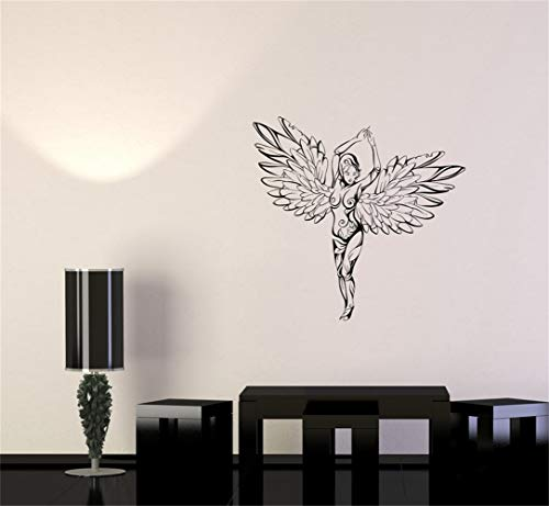 Vinyl Wall Decals Quotes Sayings Words Art Deco Lettering Inspirational Sexy Beautiful Girl Ornament Wings Angel Woman Fantasy (Wing Angel Ornament)