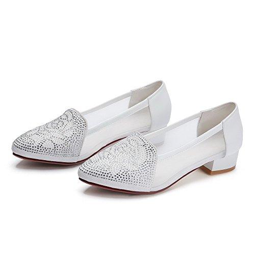 VogueZone009 Femme Matière Souple Tire Pointu à Talon Bas Couleur Unie Chaussures Légeres Blanc