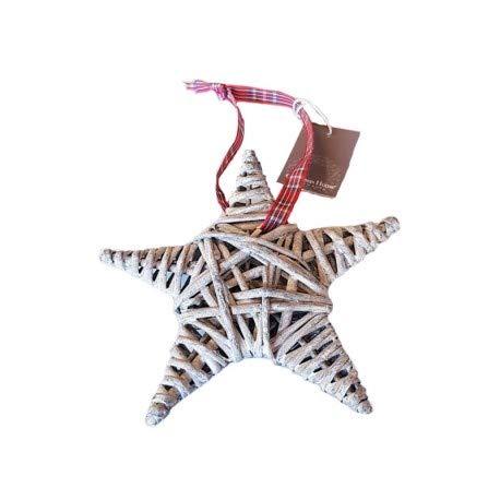 Moyenne Étoile en Rotin Gris avec Ruban à Carreaux, dim. 15 cm, décoration de Noël à Suspendre
