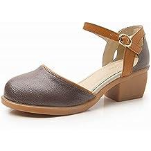 CXKS® Sandalias de Mujer Sandalias de Cuero Genuino de Verano Plataforma Zapatos de Mujer de Tacones Gruesos