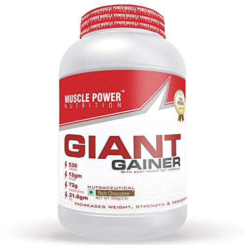 Muscle Power Giant Weight Gainer with The Best Heavy Fat Formula, Pre/Post Workout Supplement (Rich Chocolate), 0.9 Kg/2 lb