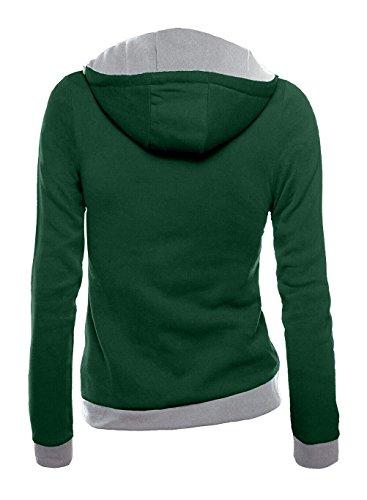 Donna Felpa Con Cappuccio Inverno Maniche Lunghe Con Zip Con Tasca Tinta Unita Slim Fit Elegante Vintage Fashion Casual Lunghi Caldo Giacca Giubbino Giubbotto Verde